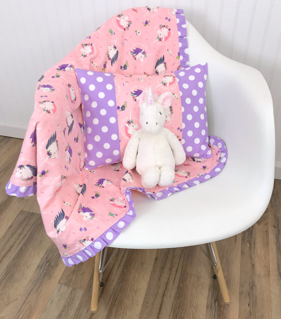 Blush Pink and Lavender Unicorn Ruffle Baby Blanket - CLEARANCE