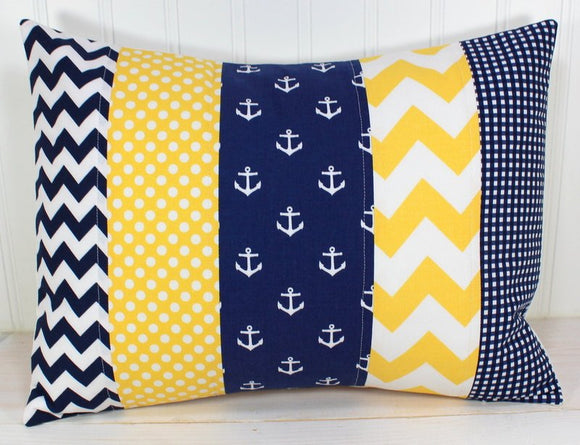 Yellow and Navy Blue Anchor Pillow Cover