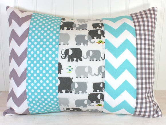 Aqua Blue and Gray Elephant Pillow Cover
