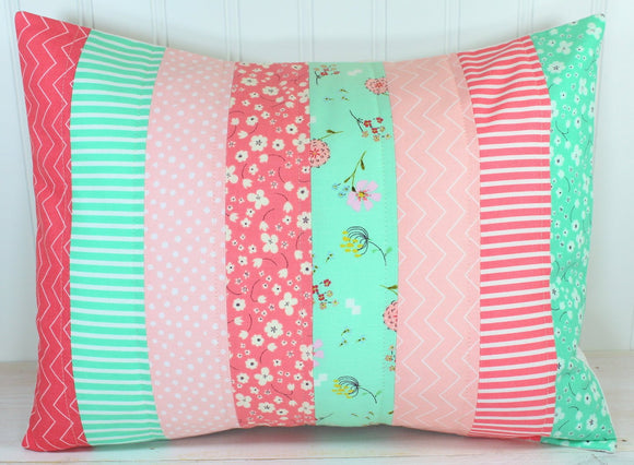 Blush and Mint Floral Pillow Cover