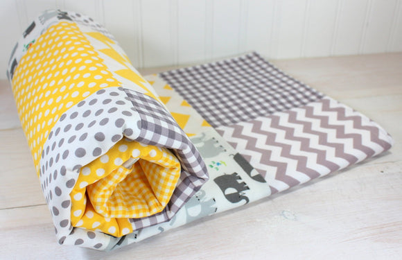 Yellow and Gray Elephant Baby Blanket