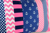 Pink and Navy Anchor Pillow Cover