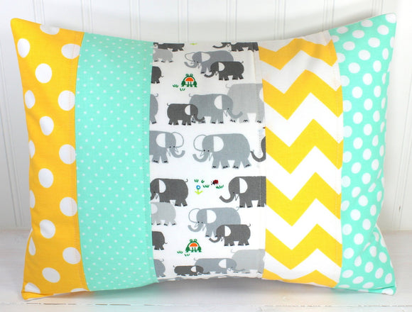 Mint, Yellow and Gray Elephant Pillow Cover