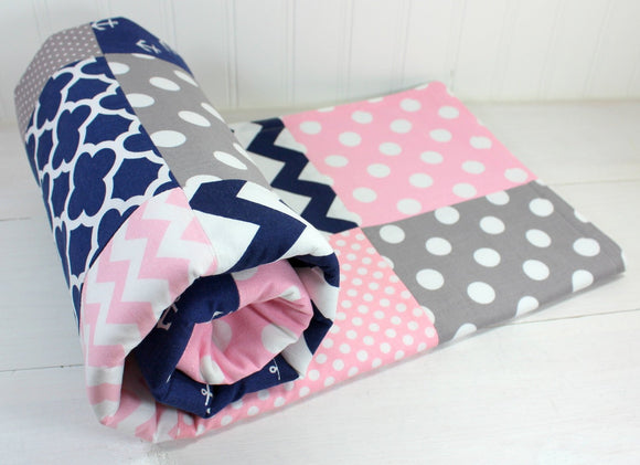 Baby Pink, Navy and Gray Anchor Baby Blanket - CLEARANCE