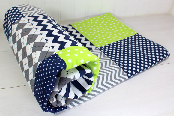 Navy, Gray and Lime Green Baby Blanket