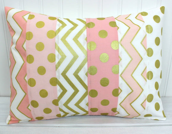 Blush Pink and Gold Pillow Cover