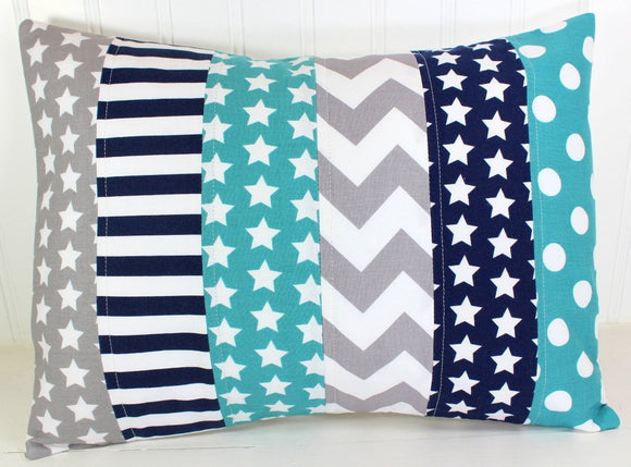Teal, Navy and Gray Star Pillow Cover