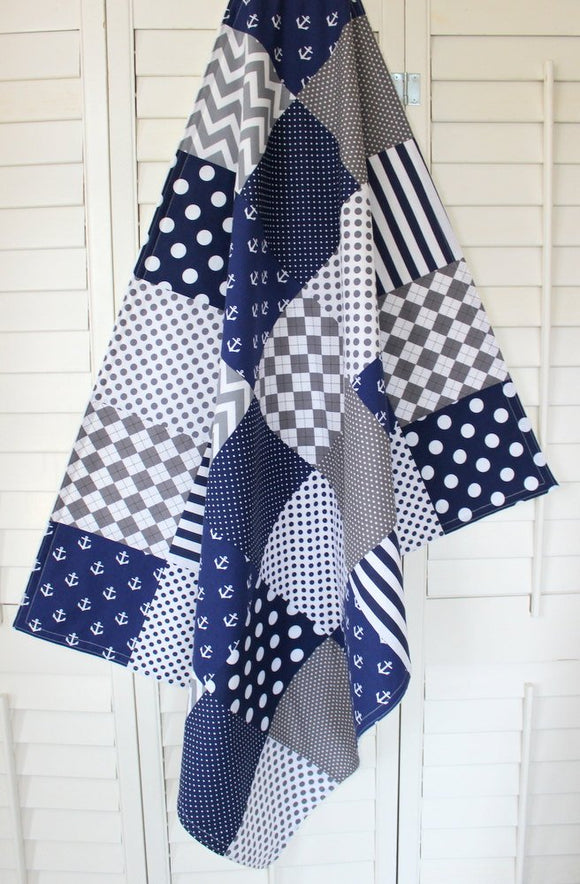 Gray and Navy Anchor Baby Blanket