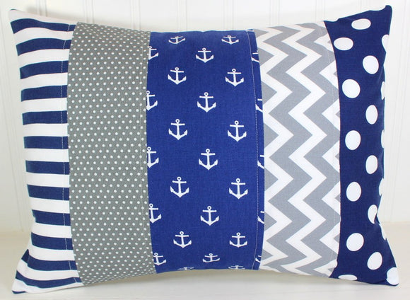 Navy and Gray Anchor Pillow Cover