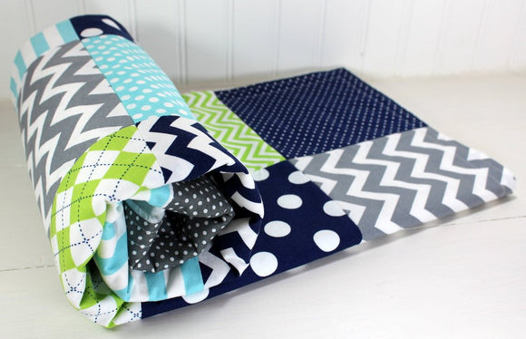 Navy, Gray, Aqua and Lime Green Baby Blanket - CLEARANCE