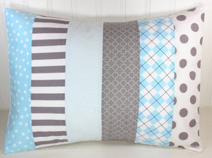 Light Blue and Gray Pillow Cover