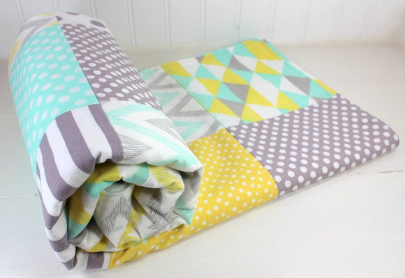 Mint, Yellow and Gray Baby Blanket