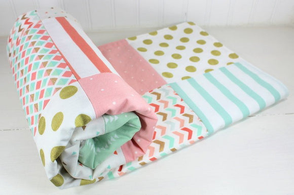 Blush Pink, Mint and Gold Baby Blanket