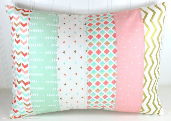 Blush Pink, Mint and Gold Pillow Cover