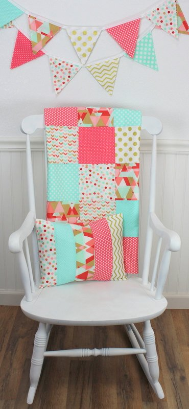 Coral Pink, Blush and Mint Aztec Baby Blanket