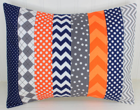 Orange, Navy and Gray Pillow Cover