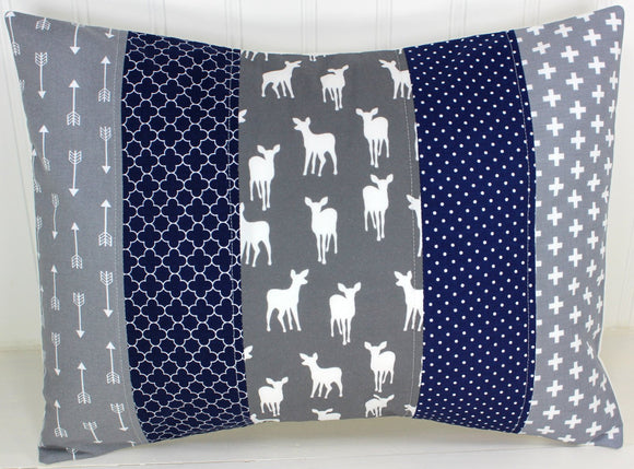 Navy and Gray Woodland Deer Pillow Cover