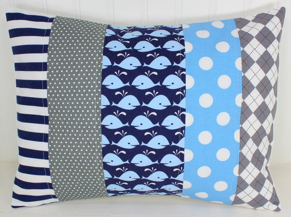 Navy Blue and Gray Whale Pillow Cover