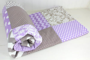 Lavender and Gray Damask Baby Blanket - CLEARANCE
