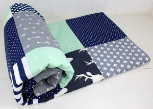 Mint, Gray and Navy Woodland Deer Baby Blanket