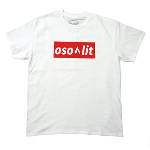 White Ososik osolit tee with red graphic