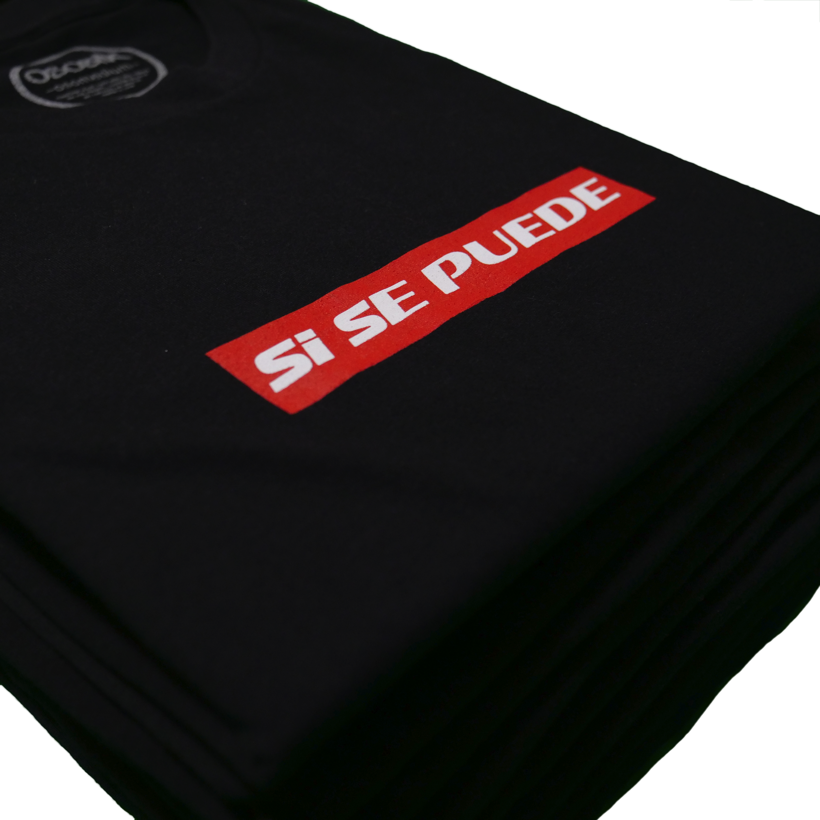 Stack of folded si se suede black t shirts