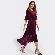 Velvet Long Dress High Low Elegant Dress