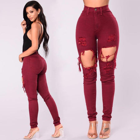 High Waist Front Rip Jeans