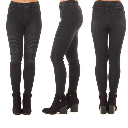 Black Stretch Pleated Jeans