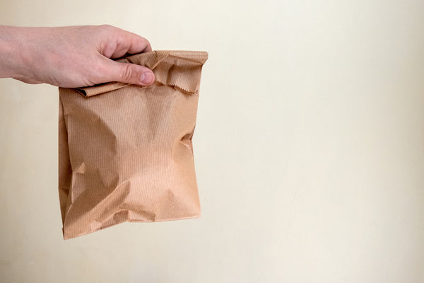 Brown Paper Bag filled with Snacks