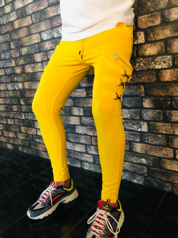 Yellow Fashion Jogger With Zip and Details on side