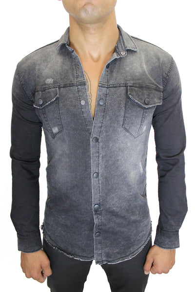 """Ethan"" Black Washed Long Sleeve Denim Shirt"