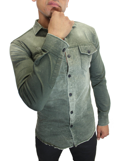 """Ethan"" Olive Washed Long Sleeve Denim Shirt"