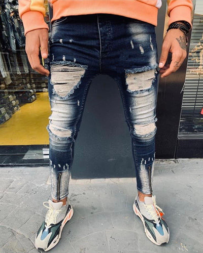 Washed Blue Jeans With Zipper on Ankle With Distress