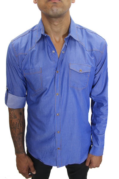 """Leo"" Light Blue Long Sleeve Denim Shirt With Snap Buttons"