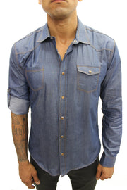 """Leo"" Navy Long Sleeve Denim Shirt With Snap Buttons"