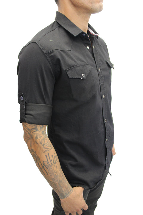"""Max"" Black Long Sleeve Denim Shirt With Snap Buttons"