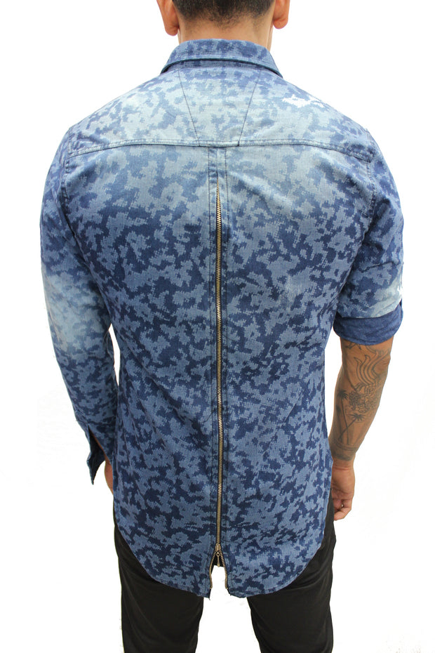 """Toby"" Blue Long Sleeve Extended Denim Shirt With Zipper On Back"