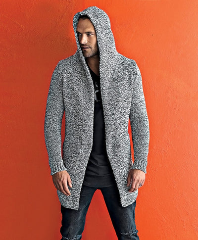 """Samo"" Black & Light Grey Mix Fabric Fashion Sweater Cardigan With Hood"