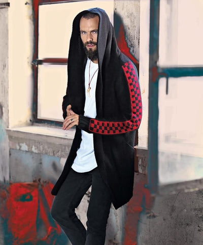 """Swag"" Black Fashion Sweater Cardigan With Red Design On sleeve With Hood"
