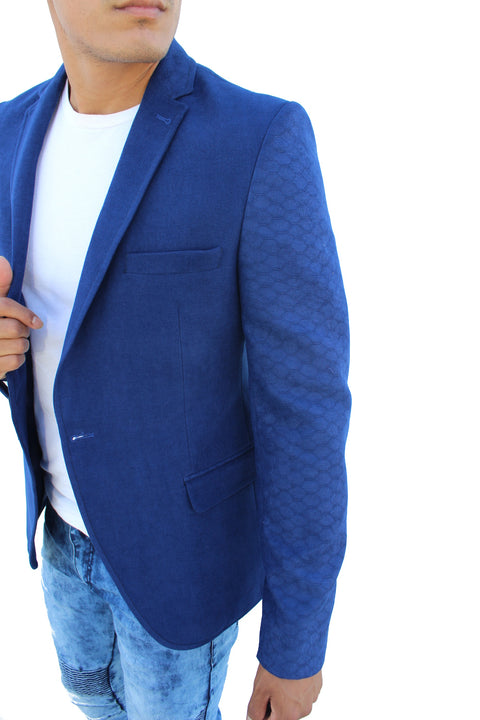 Don Sax Blue Blazer With Details On Sleeve