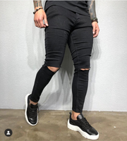 Black Fashion Jeans With Cut on Knee