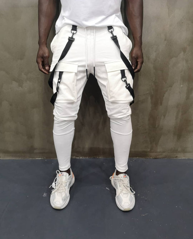 """Alessandro"" White Fashion Jogger With Removable Suspenders"