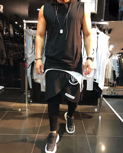 Sleeveless Black Double Fabric T-shirt With Hood