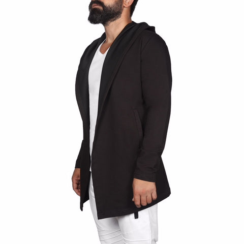 """Jacopo"" Black Fashion Cardigan With White Stripe On Back"