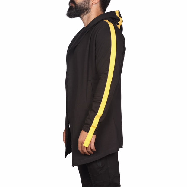 """Domenico"" Black Fashion Cardigan With Yellow Stripe"