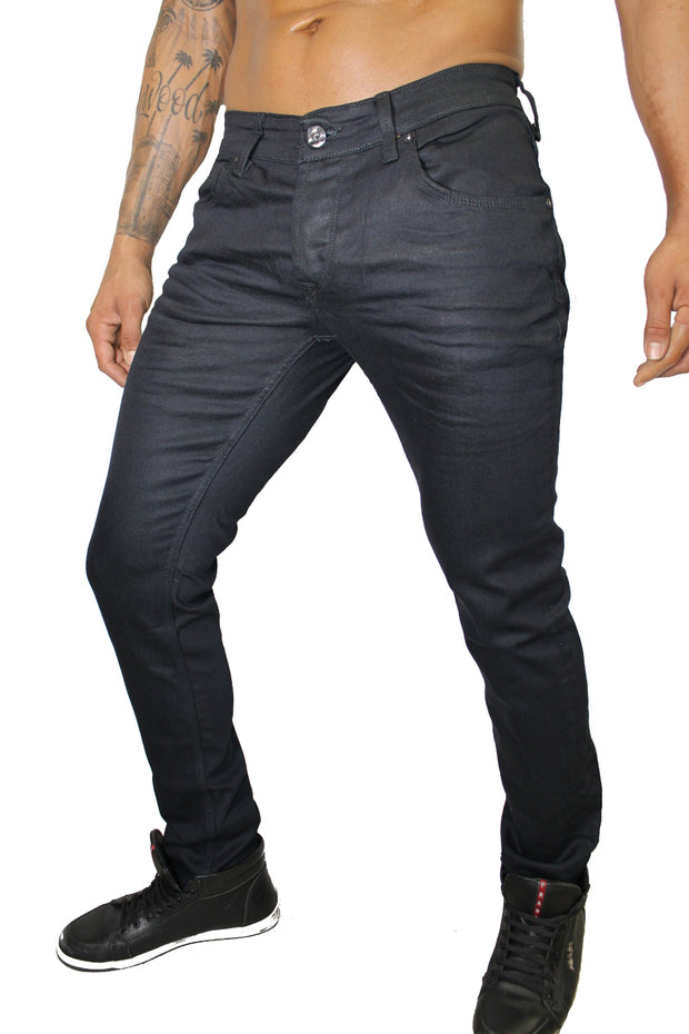 Ezra Dark Navy Raw Denim Wax Jeans