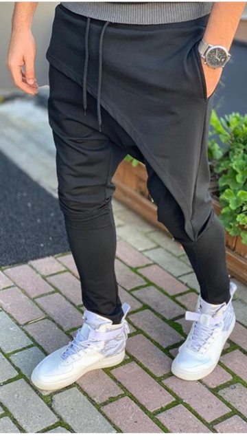 Shelton Black Fashion Drop Crotch Jogger