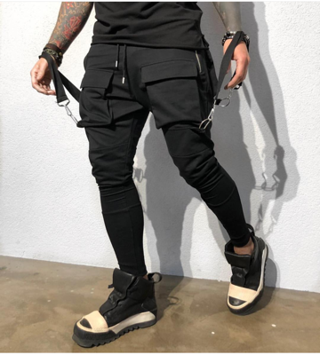 """Alessandro"" Black Fashion Jogger With Removable Suspenders"