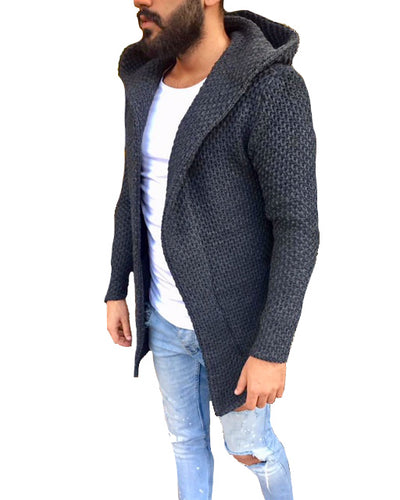 """Luca"" Dark Grey Fashion Sweater Cardigan With Hood"